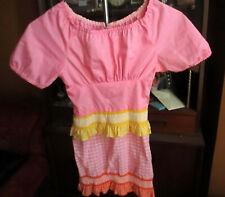 sz 8 GIRLS Vtg 70s ULTRA THIN HANDMADE WPINK/YELLOW SPANISH SHOULDER HIPPY Dress
