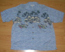 Men's Shirt Sz XL Boca Classic Hawaiian Village Scene Aloha Tiki Retro Blue