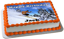 SKIING A4 PREMIUM Edible RICE WAFER Cake Topper CAN PERSONALISED D1 SKI SKIER