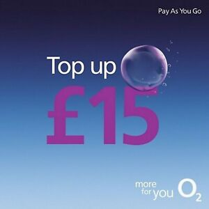 O2 - £15 - Pay as You Go - Mobile phone - Top Up Voucher / Code