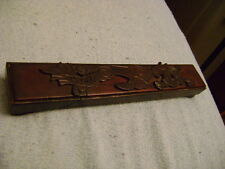 Chopsticks in a Oriental wooden box with ornament dragons vintage