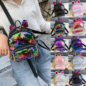 Fashion Women's Outdoor Cat Ears Sequins Backpack Shoulder Bag Messenger Bag