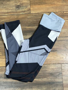 Gray Black & White Geometrical Design Leggings Size Small Workout