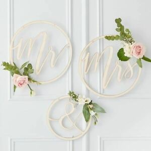 Mr and Mrs Wooden Hoops Wooden Hoop Wreath Mr & Mrs Mr and Mrs Signs Wreath
