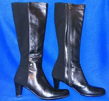 37.5 TARYN ROSE TALL BLACK BOOTS STRETCH/LEATHER ZIPPER WOMENS