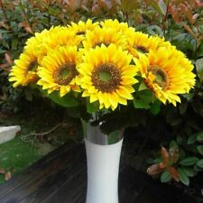 Yellow Fake Sunflower Artificial Silk Flower Bouquet Wedding Home Floral Decor