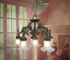 Antique Vintage Chandelier Bronze Down Light Ornate Leafy Glass Shades 6 Lights