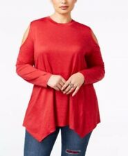 Style & Co Top Womens Plus Size 2X Red Silver Long Sleeve Open Shoulder New