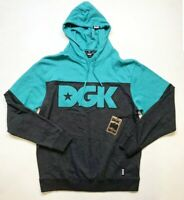 Brand New 100% AUTHENTIC DGK Mens embroidered multi-colored LS Hoodie TEAL