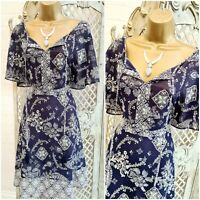 GEORGE UK 10 Navy Floral Paisley Print Sheer Chiffon Fit & Flare Dress Summer