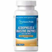 PURITAN'S PRIDE ACIDOPHILUS & DIGESTIVE ENZYMES PROTEASE AMYLASE LIPASE 60 TABS