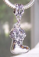 Christmas Stocking Holiday Dangle Bead for Silver European Style Charm Bracelet
