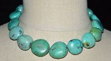 VTG Silver Tone Blue Turquoise Polished Bead Beaded Southwestern Necklace 138g