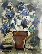 Georges LAPORTE (1926-2000) huile sur carton fin N.M. et fleurs P1769
