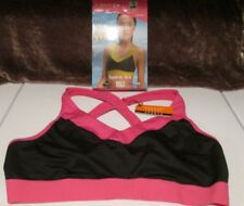 Yvette Low Impact Yoga Sports Bra #6041 Criss Cross Straps Comfort Black / Rose