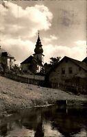 Warmensteinach Fichtelgebirge s/w Postkarte 1956 Blick auf die Berg Kirche See