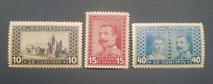 Yugoslavia, Austria, Bosnia&Herzegovina. 1917. Michel 121-123 (full set). MLH.