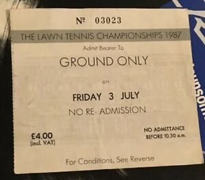 Wimbledon Lawn Tennis Ticket 1987 Ground Only