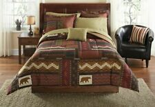 King Size Cabin Bed in a Bag Brown Lodge Rustic Bear Comforter Sheets Bedding