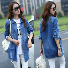 Plus Size Female Long Loose Hole Denim Coat Casual Jeans Jackets Outwear CB