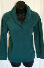 Womens LL Bean sweater fleece pullover small petite green long sleeve collared