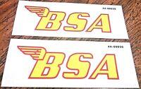 "BSA 4-1/4 x 1-3/8"" yellow w/red edge 441 Victor 1969-70 gas tank transfer, pair"