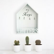 White Wooden Shabby Chic Wall Mounted Hanging Letter Rack With Hook Key Storage