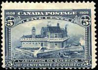 1908 Mint Canada F Scott #99 5c Quebec Tercentenary Issue Stamp Hinged