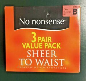 3 Pair Value Pack No Nonsense Sheer to Waist Sheer Toe Pantyhose TAN Size B (*)