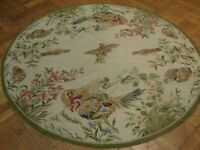 Rooster inParadis 5x5 NEW HAND WOVEN RUG Domestic Birds