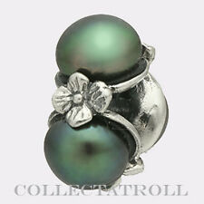 Authentic TrollBeads Silver Triple Black Pearl Trollbead 51733