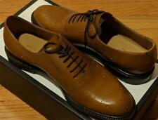 $940 Mens Authentic GUCCI Leather Bee Brogue Oxford Shoes Cognac 8G US 9