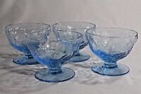 "BRYCE El Rancho Ceruleon BLUE 2.75"" Footed 4 SHERBET GLASSES Dishes Textured"