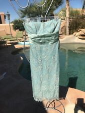 Nicole Miller Turquoise Lace Tube Prom Dress Size 0 Xs Nwt $400