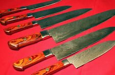 EST CUSTOM MADE DAMASCUS STEEL BLADE 6Pcs. CHEF/KITCHEN KNIVES SET DC (1071-O)