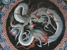 """Antique Japanese Meiji cloisonne enamel 18"""" huge flying dragon wall charger"""