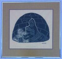 Vintage Original Inuit Stone Cut Print by Mona Ohoveluk With Holman Blindstamp