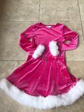 Bonnie Jean Girls Santa Christmas Dress Pink White Fur Holiday Size 6