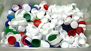 Lot of 500 Plastic Bottle Caps Lids for Crafts Mosaics Assorted Sizes and Colors