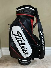 "Titleist Tour Staff Golf Bag 9"" Diameter Top Opening High Quality Black Red"