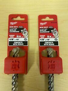 "(2) MILWAUKEE 1/2"" x 13"" SDS MAX - 4 CUTTER SOLID CARBIDE DRILL BIT 48-20-8402"