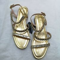 ZARA Gold Flat Jewelled Sandals With Diamanté UK 5 Euro 38