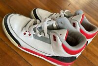 NIKE AIR JORDAN 3 FIRE RED CEMENT GREY RETRO III Size 7Y CHICAGO BULLS Excell