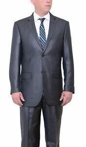 Vitali Big & Tall Classic Fit Charcoal Gray Sharkskin Two Button Suit