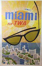 Vintage David Klein TWA Miami Poster 1960's, Original