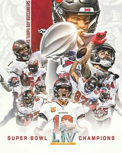 Tampa Bay Buccaneers Poster Super Bowl LV Champions 2021 Tom Brady READY TO SHIP