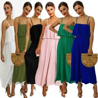 Womens Ladies Sleeveless Pleated Crinkly Strap All In One Jumpsuit Dress 8-16