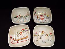 """Set of (4) JC Penny Snow Family Fun 6 3/4"""" Soup/Cereal Bowls"""