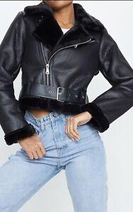 New Black ladies aviator jacket size 10 Pretty Little Thing