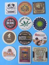 12 USA Beer Coasters: Humboldt Hemp,Coors,Stone,New Belgium,Sun King,Green Flash